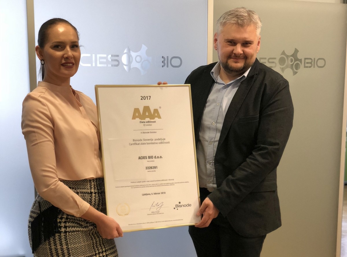 ACIES BIO AWARDED GOLD AAA Creditworthiness certificate